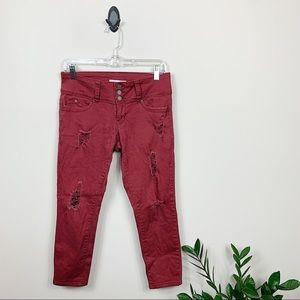 YMI • Red Distressed Capri Jeans
